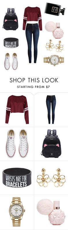 """""""back to school"""" by rebeca1r ❤ liked on Polyvore featuring Converse, Oscar de la Renta and Rolex"""