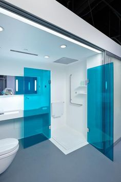 An adaptable open bathroom concept is used in Patient Room 2020, with a reconfigurable sliding door system used to section it off from the patient room. Credit: Tom Powel Imaging.