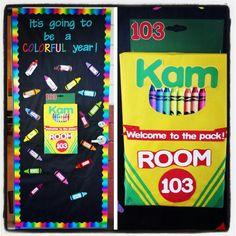 Crayon theme door rnrnSource by msNKOTB Crayon Themed Classroom, Preschool Classroom Decor, Kindergarten Bulletin Boards, Teacher Bulletin Boards, Classroom Door, Classroom Themes, Preschool Activities, Future Classroom, Classroom Displays
