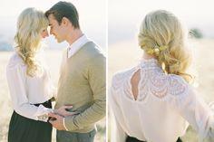 Acessório de cabelo e penteado - presilha perolada e blusa em renda fotografia Jose Villa - Josh and Ashley