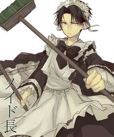 Levi Ackerman, cleaning outfit, funny, text, maid outfit, cross dressing; Attack on Titan