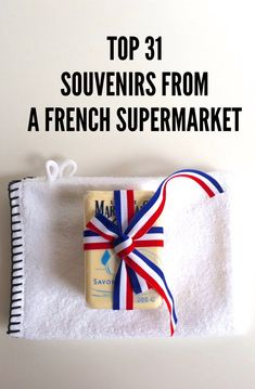 My favorite place to shop for souvenirs is foreign supermarkets-- and there's nowhere better than a French grocery store-- we hit the Monoprix in Paris, France for french soaps, sponges, mustards, foie gras and more! Great & cheap ideas.