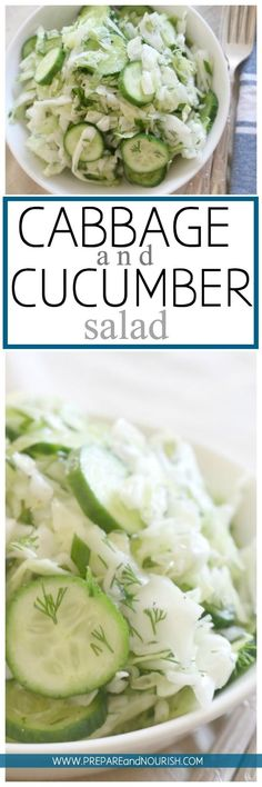 Cabbage and Cucumber Salad - This cabbage salad is seriously loaded with crunch, zest and deliciousness. Made with simple ingredients and has a longer shelf life than most salads, this salad is a fun party food.  via @preparenourish Cabbage Salad, Cucumber Salad, Potato Salad, Potatoes, Ethnic Recipes, Food, Kale Slaw, Eten, Hoods