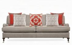 In the Mix : How to Arrange Sofa Pillows Lacefield Designs Coral Pillow Collection www.lacefielddesigns.com