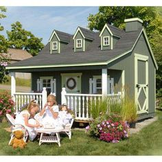 Pennfield Cottage Playhouse Panelized Kit With Floor. The Pennfield Cottage Playhouse is is an awesome playhouse that has… Kids Indoor Playhouse, Outside Playhouse, Playhouse Kits, Backyard Playhouse, Build A Playhouse, Outdoor Playhouses, Simple Playhouse, Girls Playhouse, Childrens Playhouse