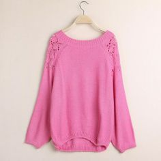 Pink pullovers Solid regular sleeve o-neck lolita style Vintage Sweaters