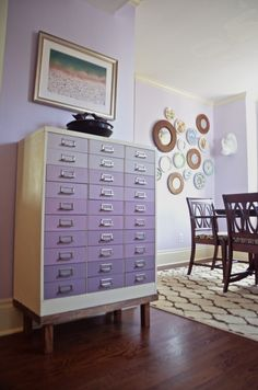 Love the look of a beautiful ombre finish? Ciburbanity's file cabinet received just that with these soothing lavender tones created with Emile, Henrietta and Old White Chalk Paint® decorative paint by Annie Sloan!