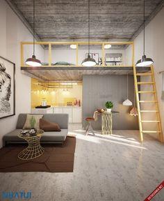 Ideas home interior design living room small spaces bedrooms for 2019 Mezzanine Bedroom, Loft Room, Bedroom Loft, Mezzanine Loft, Bedroom Decor, Small Loft Apartments, Loft Spaces, Small Spaces, Tiny House Loft