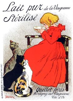 French Posters, Sterilised milk is better for the cats.