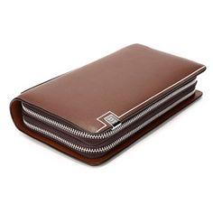 Men Business Man-made Leather Portable Bag Double Zipper Wallet - US$18.32