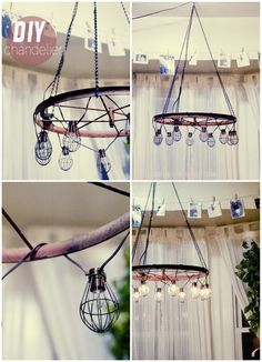 DIY CHANDELIER - any light chain and wood log hanging from ceiling would do!