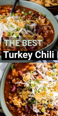 This is the Best Turkey Chili recipe! Browned turkey, two kinds of beans, tomatoes and spices make this an easy dinner you will love! Slow cooker option also!  #comfortfood #glutenfree Slow Cooker Chili, Beef Stew Crockpot Easy, Slow Cooker Turkey, Chili Recipe Stovetop, Trader Joes Chili Recipe, Skinny Chili Recipe, Two Bean Chili Recipe, Crockpot Turkey Chili, Healthy Turkey Chili