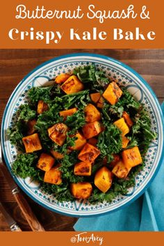 Butternut Squash and Crispy Kale Bake - Simple healthy vegan side dish, made on one baking sheet in less than 40 minutes for perfect Kosher Sukkot meal addition. | ToriAvey.com #butternutsquash #kale #vegan #vegetarian Kosher Recipes, Kale Recipes, Vegetarian Recipes, Healthy Recipes, Vegan Vegetarian, Vegan Squash Recipes, Sukkot Recipes, Xmas Recipes, Lunch Recipes