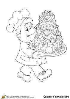 Coloriage du gentil pâtissier portant le gâteau d'anniversaire jusqu'à la fête
