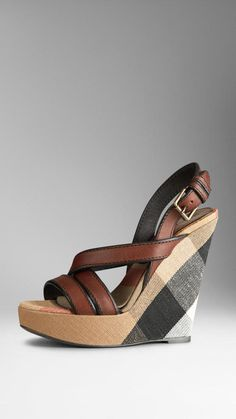 Burberry Canvas Check Platform Wedges on shopstyle.com