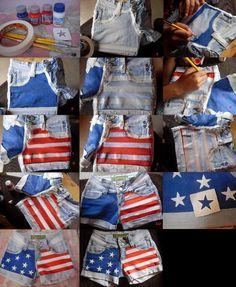 D.I.Y. American Flag Shorts @Amanda Snelson Snelson Snelson Snelson Snelson Matson lets make together :)