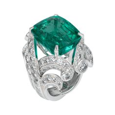 Emerald ring Platinum, cushion-cut - Cartier