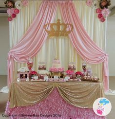 Princess theme baby shower showerbox events like us on fb Shower Party, Baby Shower Parties, Baby Shower Themes, Baby Shower Decorations, Royal Baby Shower Theme, Princess Theme Party, Baby Shower Princess, Baby Princess, Mermaid Princess