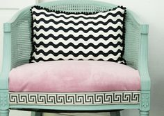 This would love my happy place.  Google Image Result for http://www.babylifestyles.com/images/nursery/serene-modern-girl-nursery/modern-girl-baby-nursery-chair-with-key-pattern-and-chevron-pattern-pillow.jpg