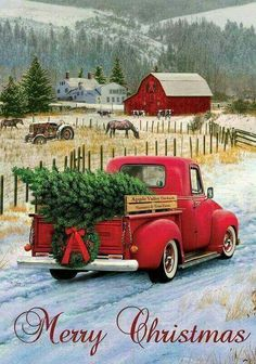 Country Christmas pickup truck themed garden flag with an antique red truck hauling a freshly cut Christmas tree home to decorate for the Holidays. The snow covered setting is complete with a bright, Christmas Red Truck, Christmas Farm, Christmas Scenes, Rustic Christmas, Winter Christmas, Merry Christmas Pictures, Christmas Time, Christmas 2017, Merry Christmas Greetings