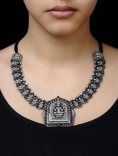 Buy Goddess Lakshami Silver Necklace Online at Jaypore.com