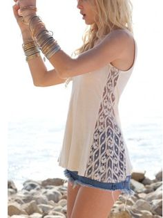 Beautiful lace inset tank. I think I could handle adding a lace inset to a few of my tanks! It is such a beautiful look.