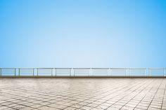 empty terrace on blue background