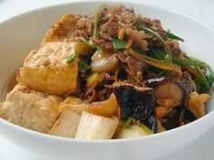 Cooked meat tofu [family lunch recipe] All About Wine Recipes, Asian Recipes, Beef Recipes, Cooking Recipes, Healthy Recipes, Recipies, Japanese Dinner, Japanese Food, Daily Meals