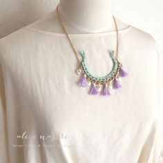 Woven Chain & Tassel Necklace(MINT×LAVENDER)