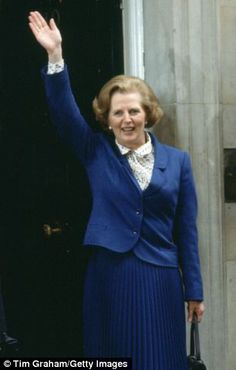 Victory: Margaret Thatcher quashed stereotypes about the traditional domestic woman by becoming the first female Prime Minister