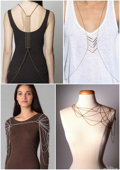 DIY Inspiration. Body Chains/Body Armour. After watching Project Accessory last week with the spiderweb body jewelry by Nina (lower right, photo found here) - put together with chains, jump rings and...