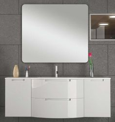 57 inch Modern Floating Bathroom Vanity White Glossy Finish with 2 slow close drawers, Both side cabinets with glass shelf Bathroom Vanity Drawers, Corner Bathroom Vanity, Floating Bathroom Vanities, Black Vanity Bathroom, Bathroom Vanity Makeover, Master Bathroom Shower, White Bathroom, Contemporary Style Bathrooms, Modern Bathroom