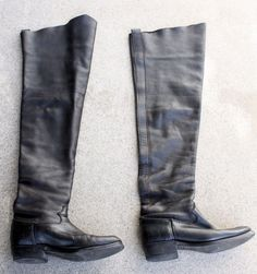 Could be used as roper boots, horse riding, motorcycle, pole climbing, etc. Also great for leather fetish roleplay, pirate costume, cosplay, or movie prop. Black natural grain leather, soft suede inside, Vulcan Neoprene Oil Resistant soles. | eBay!