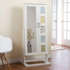modern jewelry armoire cheval mirror espresso a dark. Black Bedroom Furniture Sets. Home Design Ideas