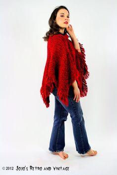 70s vintage red and blue poncho by JojosRetroandVintage on Etsy, $30.00