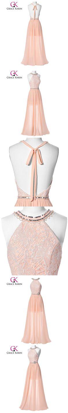 Grace Karin Prom Dresses 2017 Halter Long Prom Pink Backless Gown Dresses vestidos de fiesta largos elegantes de gala