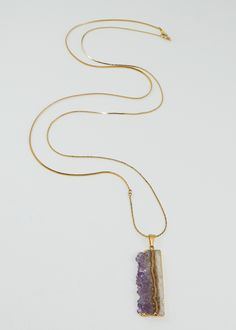 Rare Designer Violet Amethyst Cross Cut Crystal Necklace