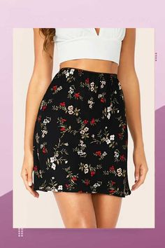 To find out about the High Waist Floral Print Skirt at SHEIN, part of our latest Skirts ready to shop online today! Floral Print Skirt, Floral Prints, Body Con Skirt, Casual Skirts, Women's Skirts, Summer Skirts, Printed Skirts, Black Fabric, Fit And Flare