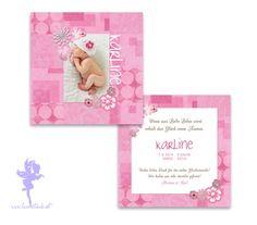 Babykarte Geburtskarte Karline von Feenstaub auf DaWanda.com