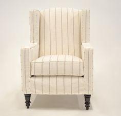 Quatrine Custom Furniture - Modern Wingback Slipcovered Chair #striped #slipcovered #wingback #neutral