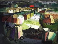 Stone Road, Portland, oil by John Piper Landscape Art, Landscape Paintings, Landscapes, Gouache, Coventry Cathedral, Stone Road, John Piper, University Of Arizona, Old Postcards