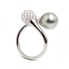 """Soul ring """"Toi et Moi"""" jewel, drop shaped tahiti pearl unite with a sterling silver bead covered in set white cubic zirconium by Misaki"""