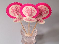 Cup Cake Toppers 12 Food Picks Birthday Party Baby by StuffDepot, $2.50