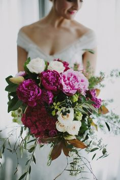 Vibrant magenta bridal bouquet by Brisbane florist French Flowers   Photography by Heart & Colour   nouba.com.au