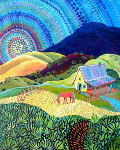 Rainbow Morning by Sally Bartos, New Mexico artist. Her work is available from bartos on Etsy. Southwestern Art, Mexico Art, Guache, Naive Art, Landscape Art, Diy Painting, Whimsical Art, Watercolor Art, Folk Art