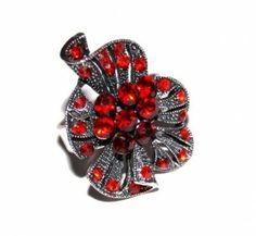 Pierścionek Vintage z Czerwonymi Kryształkami Siam #ring #vintage #pierscionek
