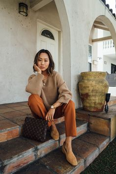Boxy Camel Sweater and Camel Suede Pumps #songofstyle