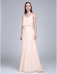 Lanting Bride® Longueur Sol Pailleté Robe de Demoiselle d'Honneur  Fourreau / Colonne Bretelles Fines avec