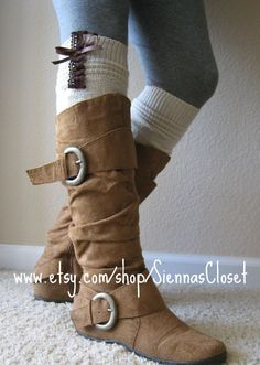 The Lacey Daisy - Cream Cable-Knit Boot Socks w/ Brown Knit Lace Ruffle and Bow Detail
