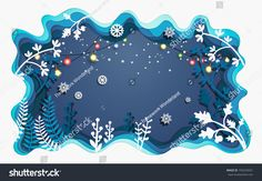 beautiful plants in winter. there are christmas lights. design paper art and crafts